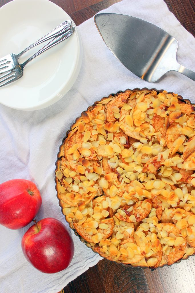 Cream Cheese Apple Pie in tart pan.