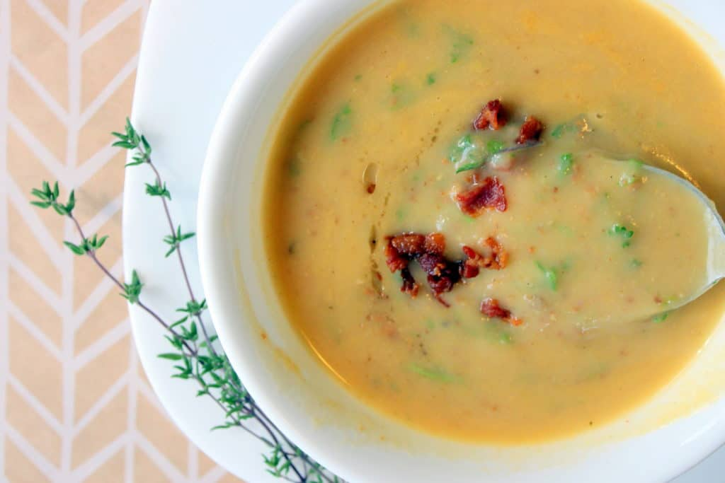 This Smoky Bacon Potato Soup is like a warm and cozy hug on a cold day. It's a great way to save money on groceries by eating more potatoes!