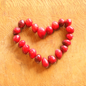 Cranberry Heart on Cutting Board