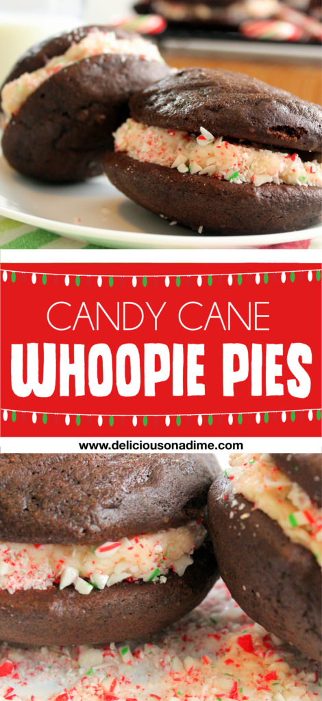 Candy Cane Whoopie Pies - fluffy on the outside, creamy and minty on the inside. YUM!