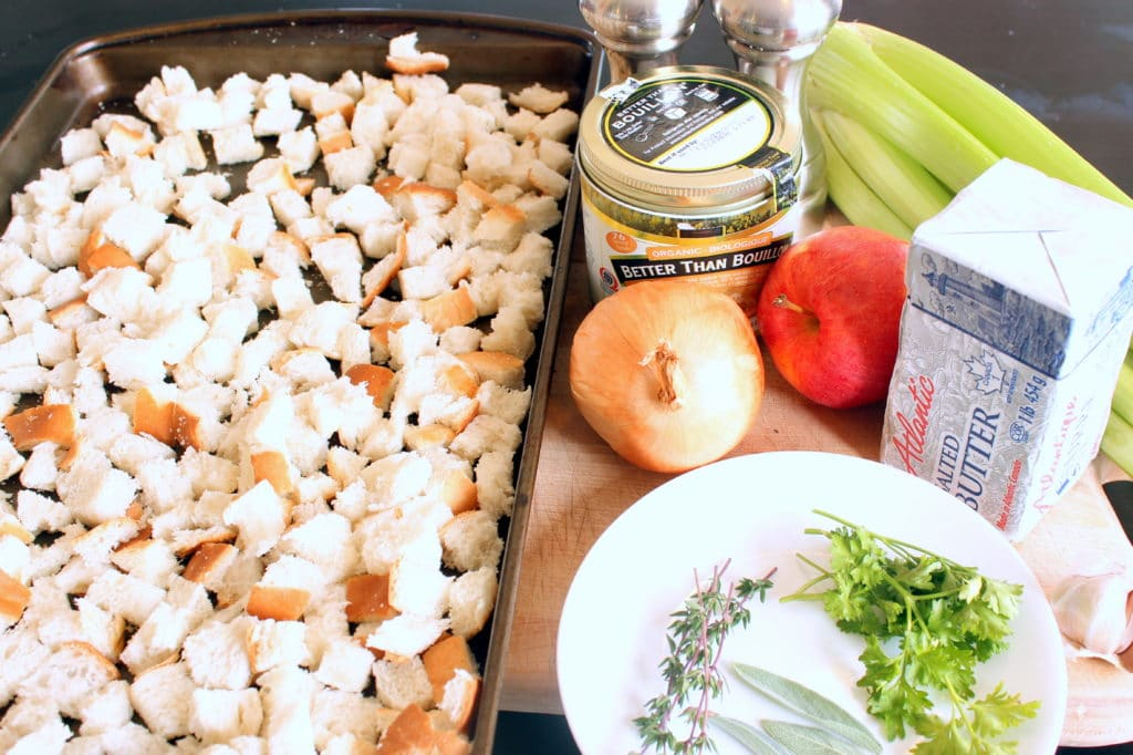 Stuffing Ingredients on Wooden Board.