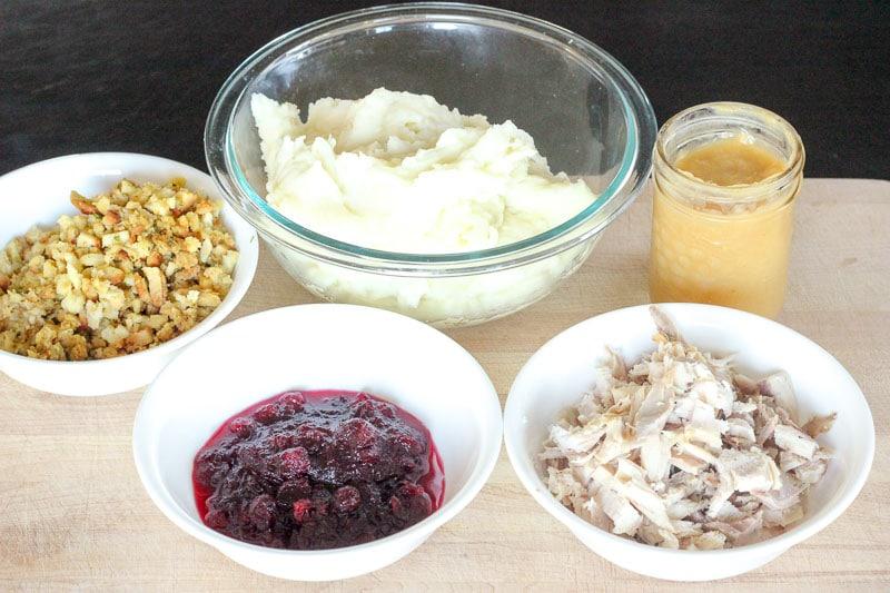 Turkey Shepherd's Pie Ingredients on Wooden Board.
