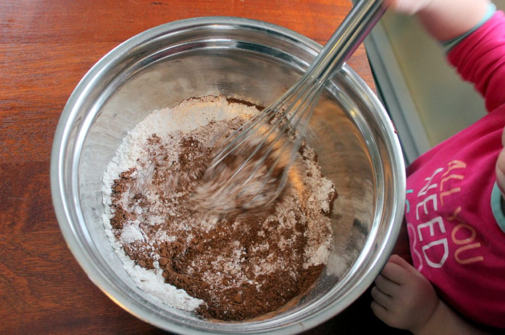 Mixing Dry Ingredients in Metal Bowl with Whisk.