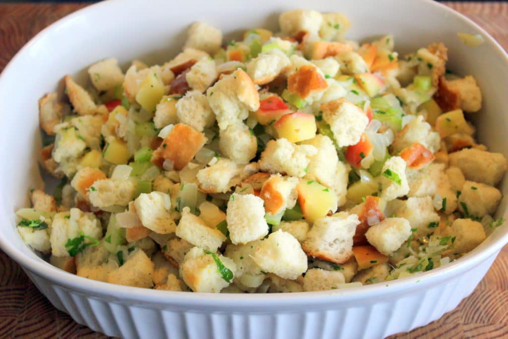 Stuffing in White Casserole Dish.
