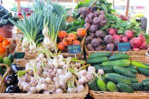 Vegetables in baskets.