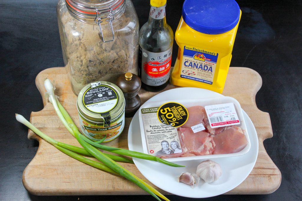 Brown Sugar Chicken Ingredients on Wooden Board.