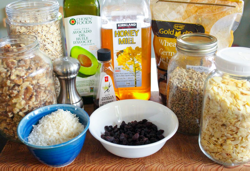 Granola Ingredients on Wooden Board.