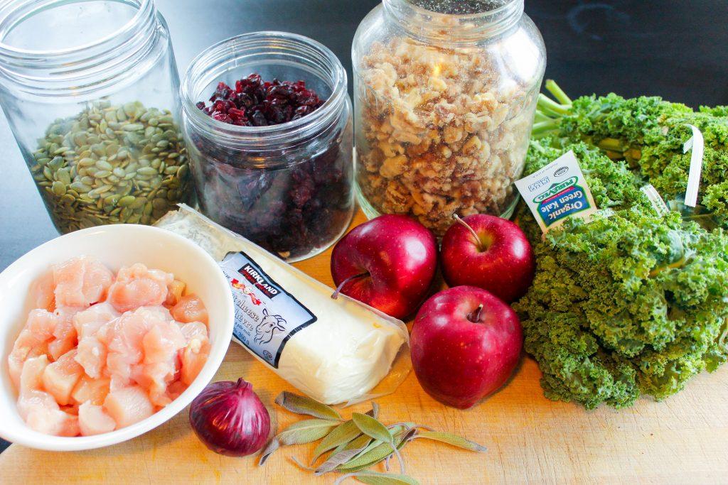 Salad Ingredients on Wooden Board.