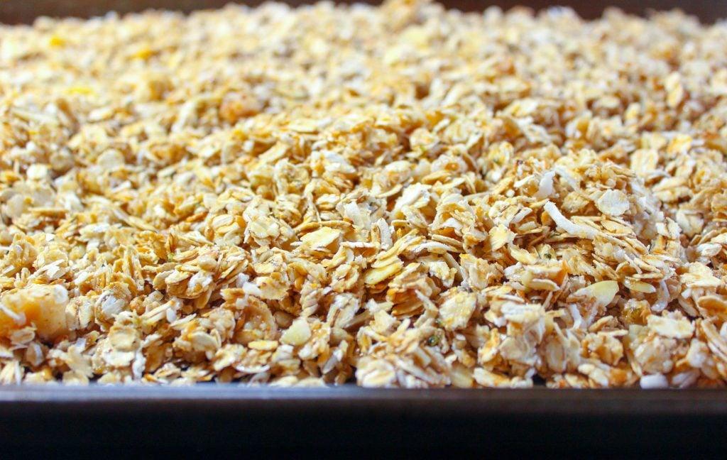 Granola on sheet pan.