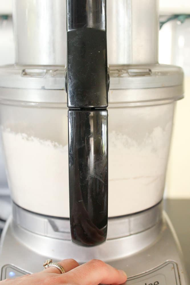 Flour mixture inside food processor.