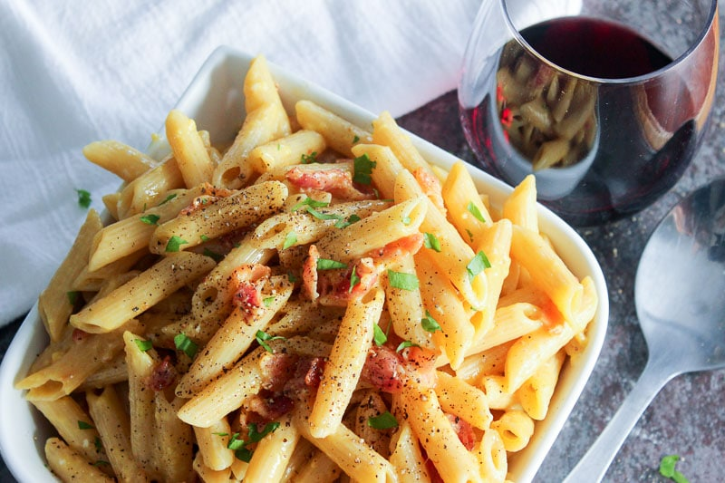 Pasta Carbonara with Bacon in White Bowl.