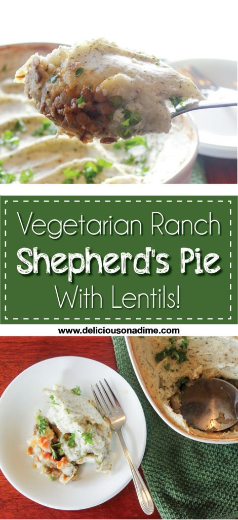 Vegetarian Ranch Shepherds Pie - With Lentils