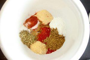 Spices for Fajita Seasoning in White Bowl.