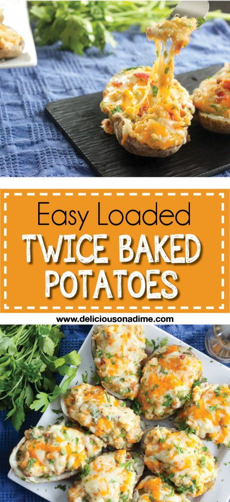 These Easy Loaded Twice Baked Potatoes are easy to make ahead of time and a huge crowd pleaser! Try them out and be the star of your next potluck or family gathering, any time of year!
