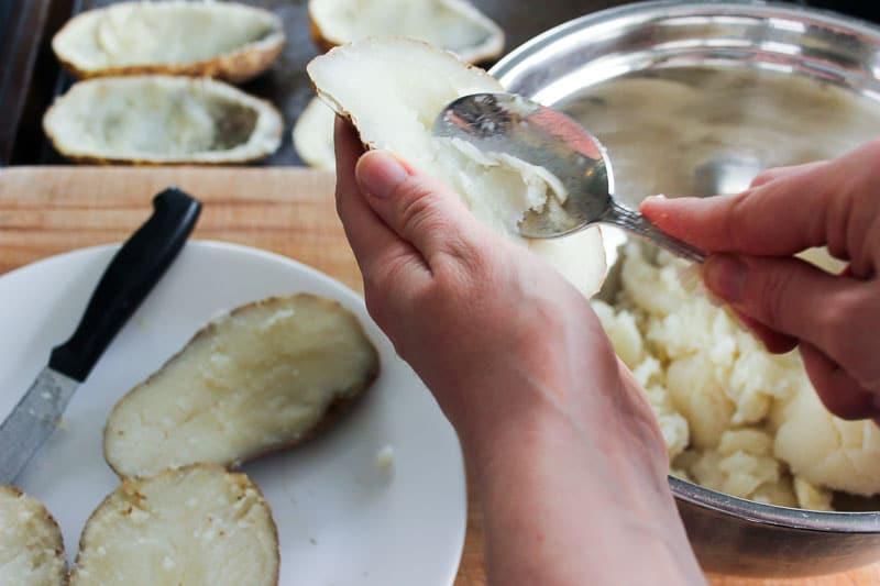 Scooping Potatoes with Spoon.