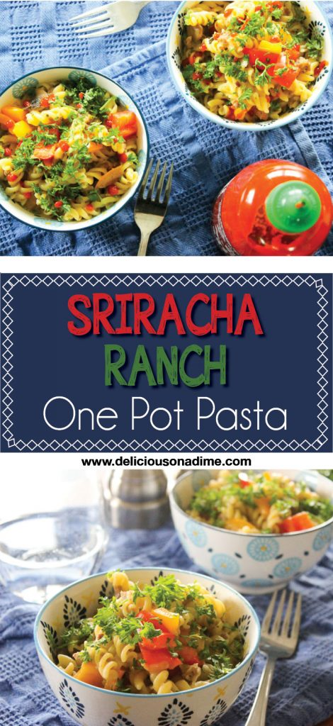 This Sriracha Ranch One Pot Pasta brings together the spicy tang of Sriracha and the creamy coolness of ranch dressing. Ready in just over 30 minutes, it's easy enough for a week night supper, with only one pot to wash later!