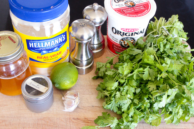 Cilantro Lime Dressing Ingredients.
