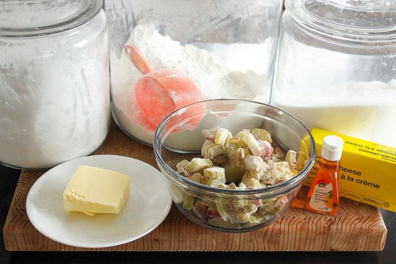 Rhubarb Tart Ingredients on Wooden Board.