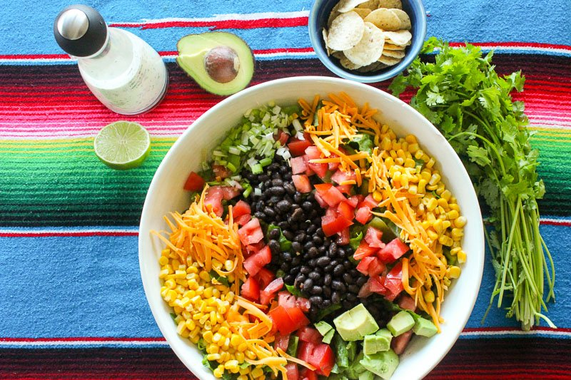 Healthy Mexican Salad in White Bowl.