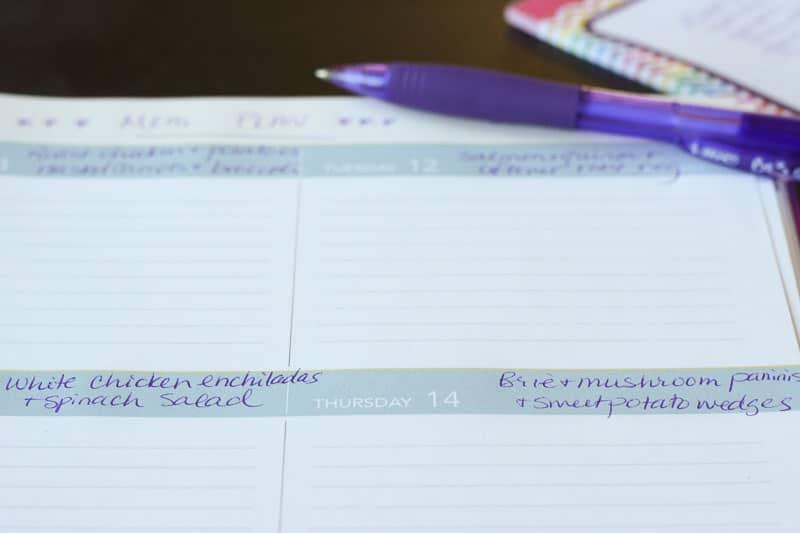 Meal ideas written on calendar.