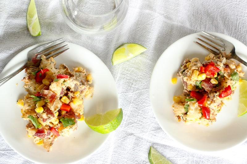 Southwest Potato Salad in White Plate.