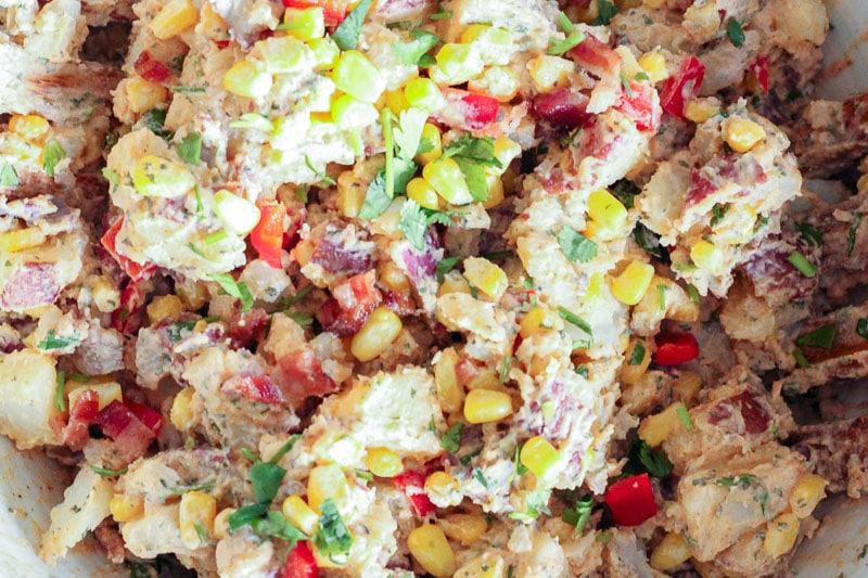 Southwest Potato Salad in White Bowl.