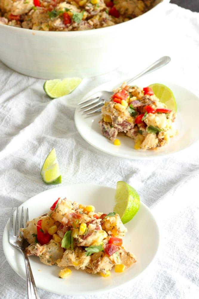 Southwest Sweet Potato Salad on White Plate.