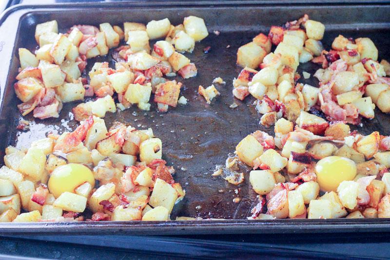 Potato and Bacon on Sheet Pan.