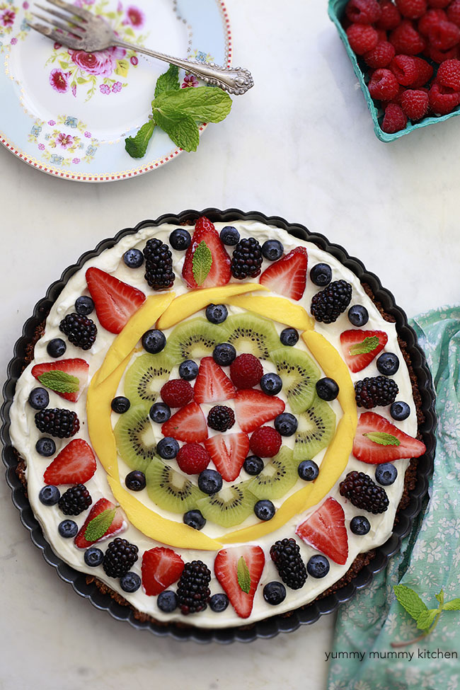 Granola and Fruit Tart topped with Fresh Fruit.