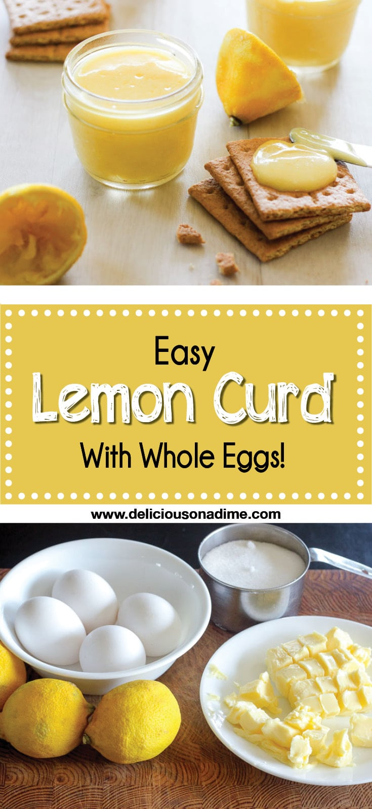 This Easy Lemon Curd is creamy, dreamy, tart and sweet. It uses whole eggs (so no wasted egg whites!) and you can throw it together in around 20 minutes. Now that's my kind of breakfast/dessert/snack treat.