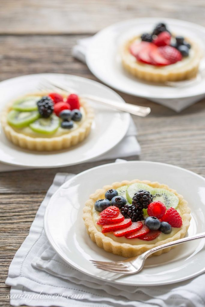 Lemon Tart topped with Fresh Fruit on White Plate.