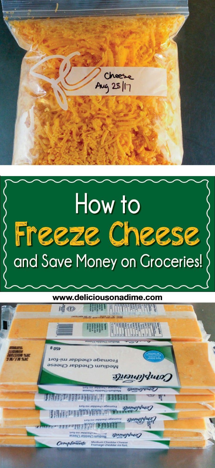 """This quick and easy tip is for any of you who ever wondered, """"Hmmmm... can you freeze cheese?"""" Yes, you can freeze cheese, and it's awesome. How to freeze cheese and save money on groceries."""