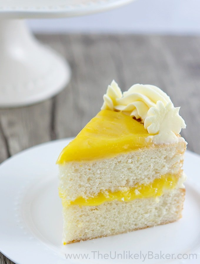 Layered Lemon Cake on White Plate.
