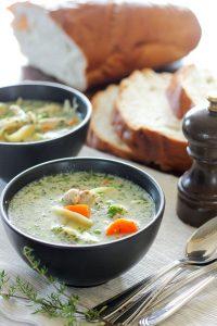Creamy Chicken Soup in Black Bowl.