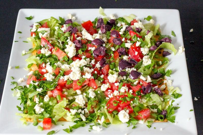 Mediterranean Dip on Square White Dish.