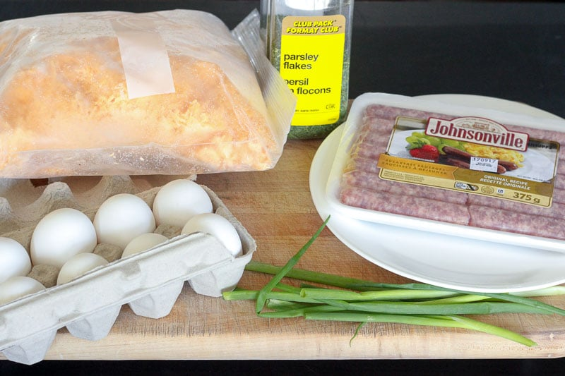 Ingredients for Sausage and Egg Breakfast Muffins.