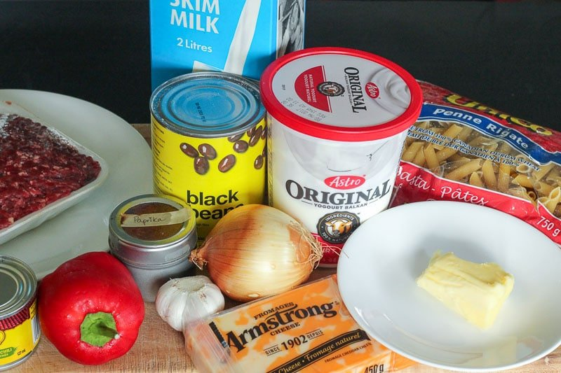 Chile Con Queso Pasta Bake Ingredients.