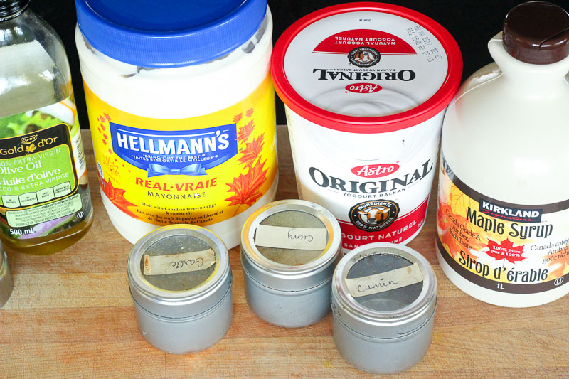 Ingredients for Creamy Maple Curry Salad Dressing