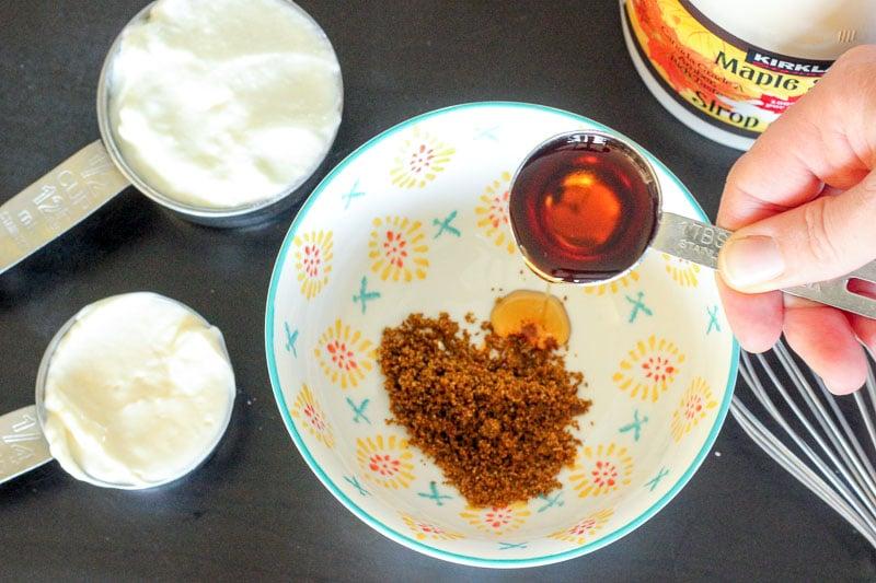 Add maple syrup, yogurt and mayo to Creamy Maple Curry Salad Dressing