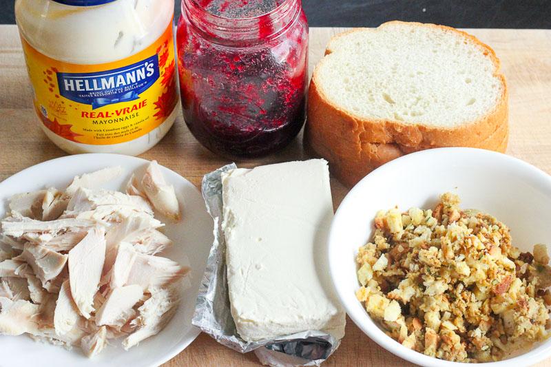 Ingredients for Grilled Turkey Cranberry Cream Cheese Sandwich