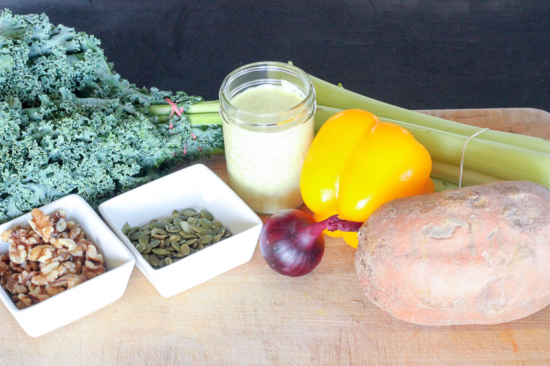 Ingredients for Healthy Fall Salad with Kale, Sweet Potatoes and Creamy Maple Curry Dressing