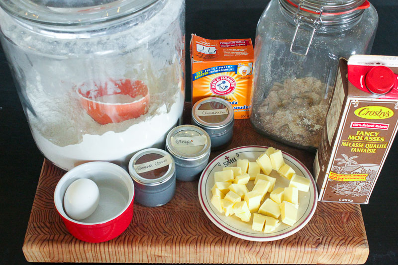Ingredients for Warm Gingerbread Cake with Salted Caramel Sauce