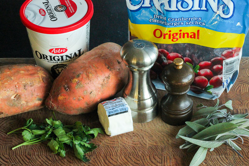 Ingredients for Healthy Twice Baked Sweet Potatoes (stuffed with goat cheese, cranberries and herbs!)