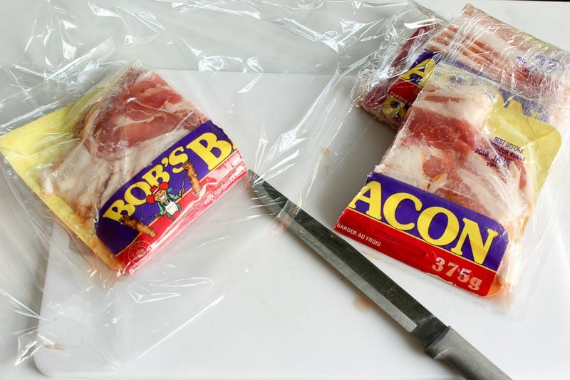 Cut packages of bacon in half and wrap tightly in cling wrap - stock up on bacon