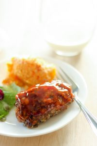 Mini Meatloaf on White Plate.