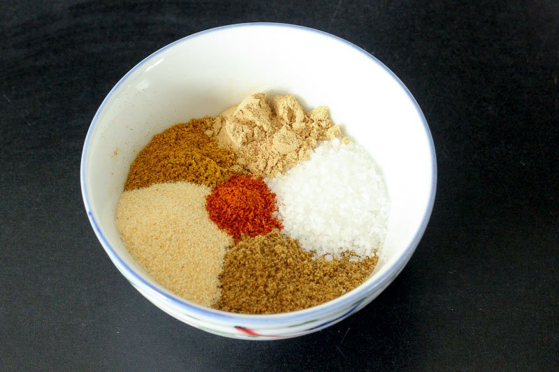 Spice Mixture in White Bowl.