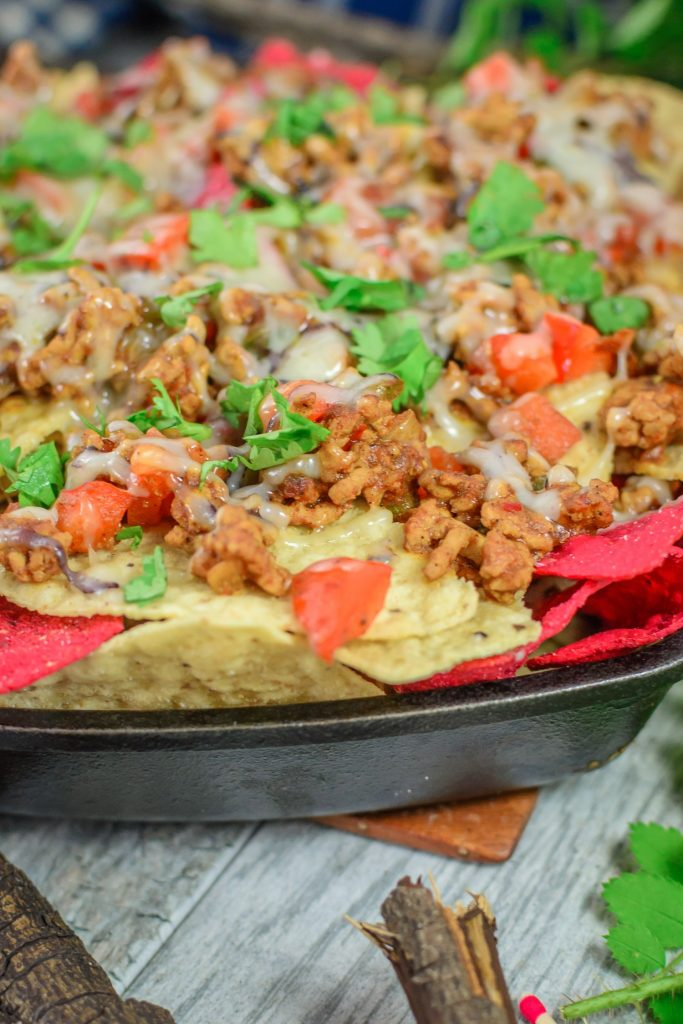 Nacho Chips topped with Ground Meat, Tomatoes and Cilantro.