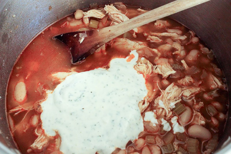 Add ranch to Healthy Buffalo Chicken Chili