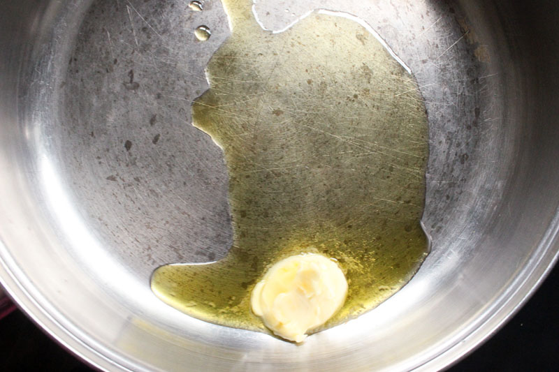 Butter and olive oil for Creamy Chicken Skillet with Sun Dried Tomatoes and Italian Herbs