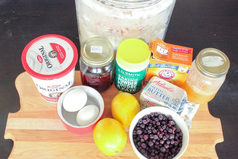 Ingredients for Healthy Lemon Blueberry Muffins (with yogurt!)